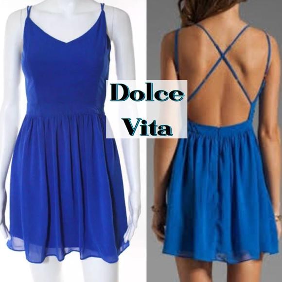 Dolce Vita Dresses & Skirts - DOLCE VITA BLUE STRAPPY OPEN BACK DRESS SIZE XS